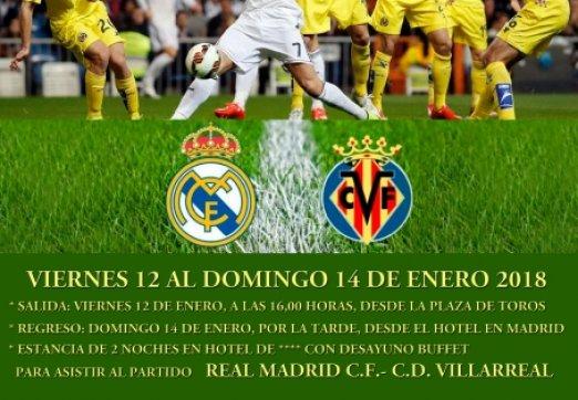 VIAJE A MADRID PARA  EL PARTIDO REAL MADRID-VILLARREAL DEL 12 AL 14 ENERO 2018